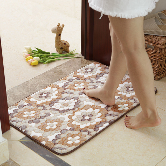 Flower Pattern Bathroom Mat Rug Carpet Non Slip Bathroom Bath Pad Soft Doormat Floor Kitchen Toilet Mat, tapete para banheiro