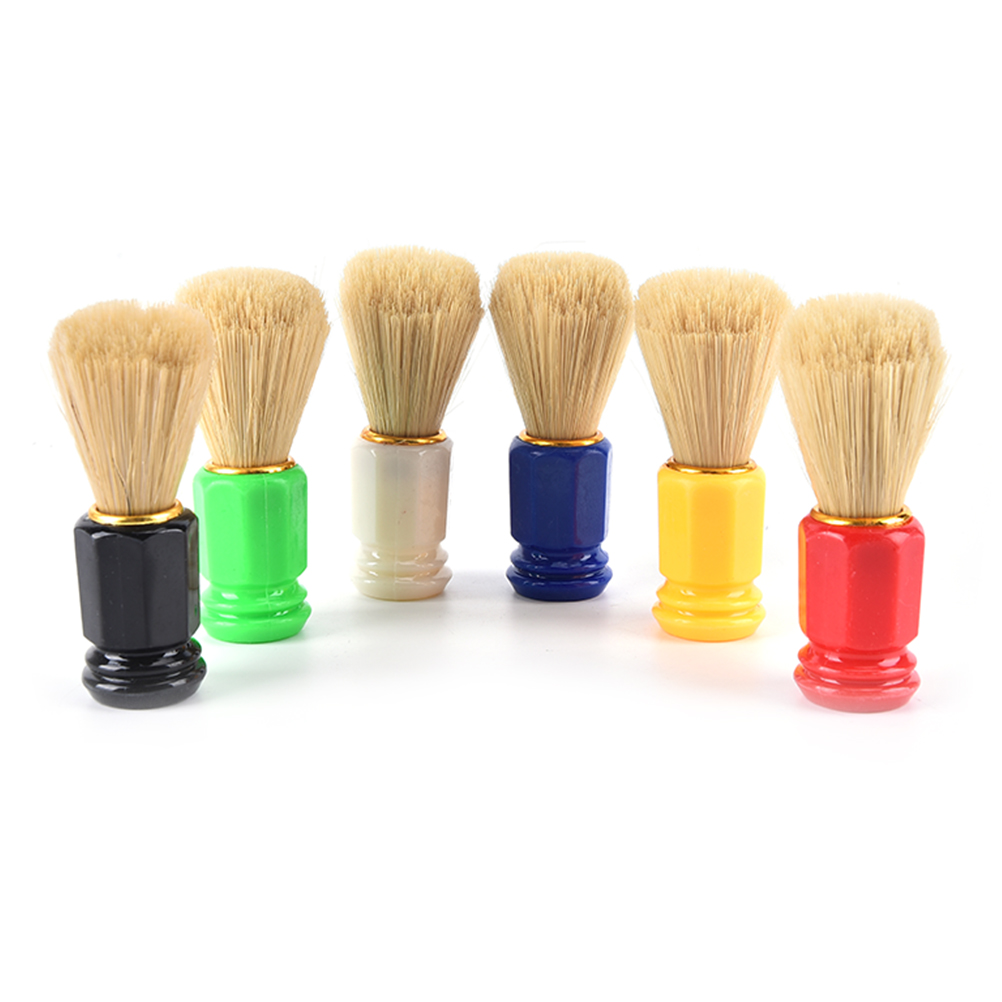One Piece Hair Men Shaving Brush Barber Facial Cleaning Appliance Tool Shave Beard Shaving Soap Brushes 6 Colors