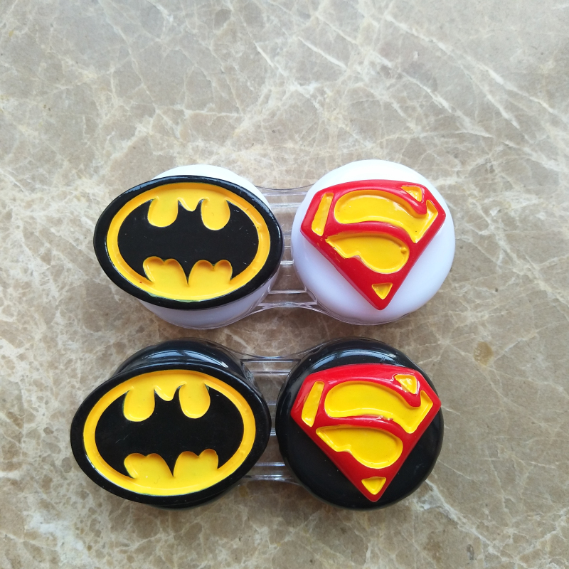 Capable Liusventina 2018 Hot Sale Resin Cute Batman Superman Potato Combo Contact Lens Case Bag Container For Color Lenses Gift For Girl In Pain Eyewear Accessories Men's Glasses