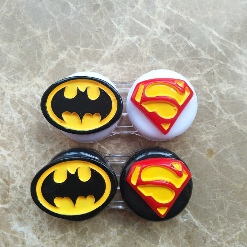 Liusventina 2018 Baru Portable DIY Lucu Batman Superman Case Lensa Kontak Kotak Kontainer untuk Lensa Warna Hadiah Ulang Tahun untuk Anak Perempuan