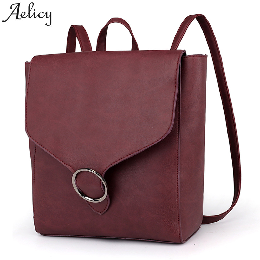 Aelicy 2018 Fashion New Travel Backpack Korean Women Female Rucksack Leisure Student School Bag Soft PU Leather Women Bag