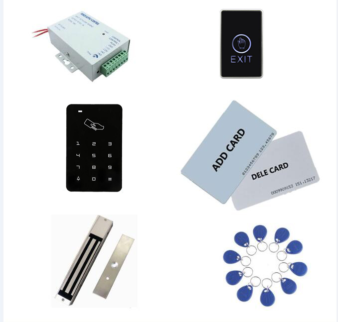 access control kit,standalone access controller+ power+280kg magnetic lock+exit button+2 manage card,10 keyfob ID tags,sn:set 6