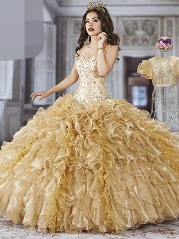 8e8651723ce Free Shipping Sweetheart Beaded Lace Up Gold Quinceanera Dresses Sweet 15  Dresses Masquerade Dress Debutante Dress
