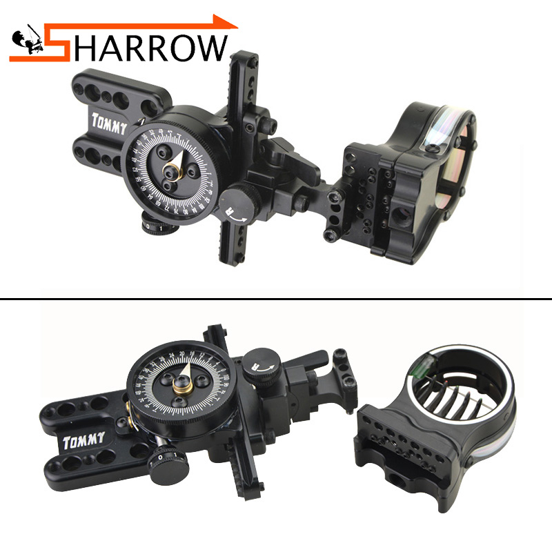 0.019 Sight Pin Archery Compound Bow 5 Pin Sight Micro Adjustable RH Auxiliary Aiming For Hunting Shooting Tommy Hogg 5Pin Sight