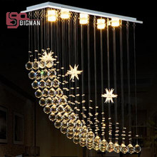 modern rectangular crystal chandeliers for dinning room bedroom light fixtures(China)