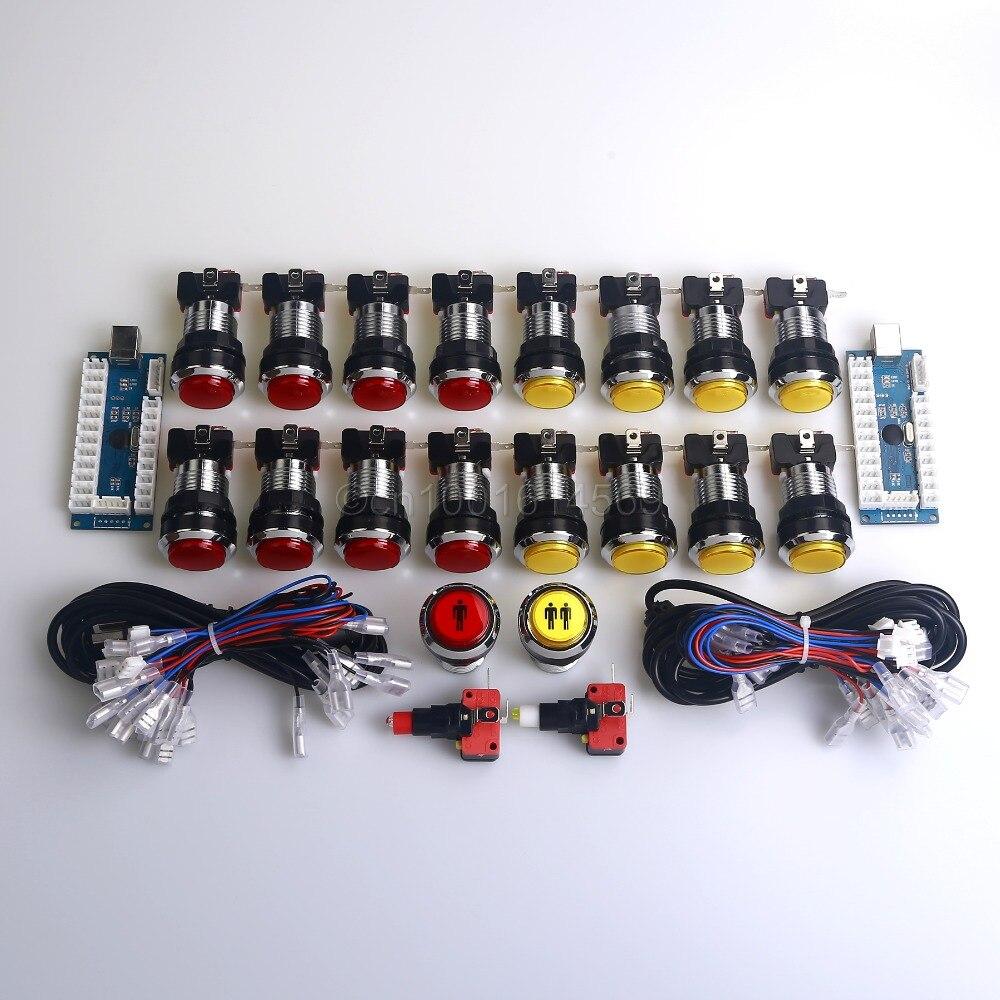 Efecto cromado LED botón iluminado Cable USB placa codificador a ordenador Joystick y botón Arcade Paquete de juegos clásicos