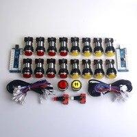 Krom Etkisi LED Işıklı Düğme PC Joystick USB Kablosu Için Encoder Kurulu & Çarşı Düğmesi Arcade Paket Klasik Video Oyunları