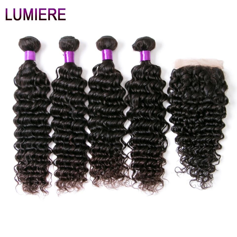Lumiere Hair Brazilian Human Hair Bundles With Closure Deep Wave 4 Bundles With Lace Closure Remy