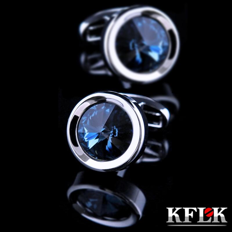 KFLK бижута риза ръкавица за мъжки марка Crystal маншет връзки на едро дизайнер бутони френски висококачествен кръг безплатна доставка