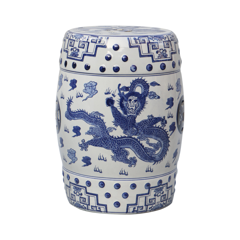 Luxury Chinese Blue And White Ceramic Stool Antique Hand Painted Porcelain Garden Stools wildwood lamps 292499 antique finished ceramic hand made and glazed tang horse braying