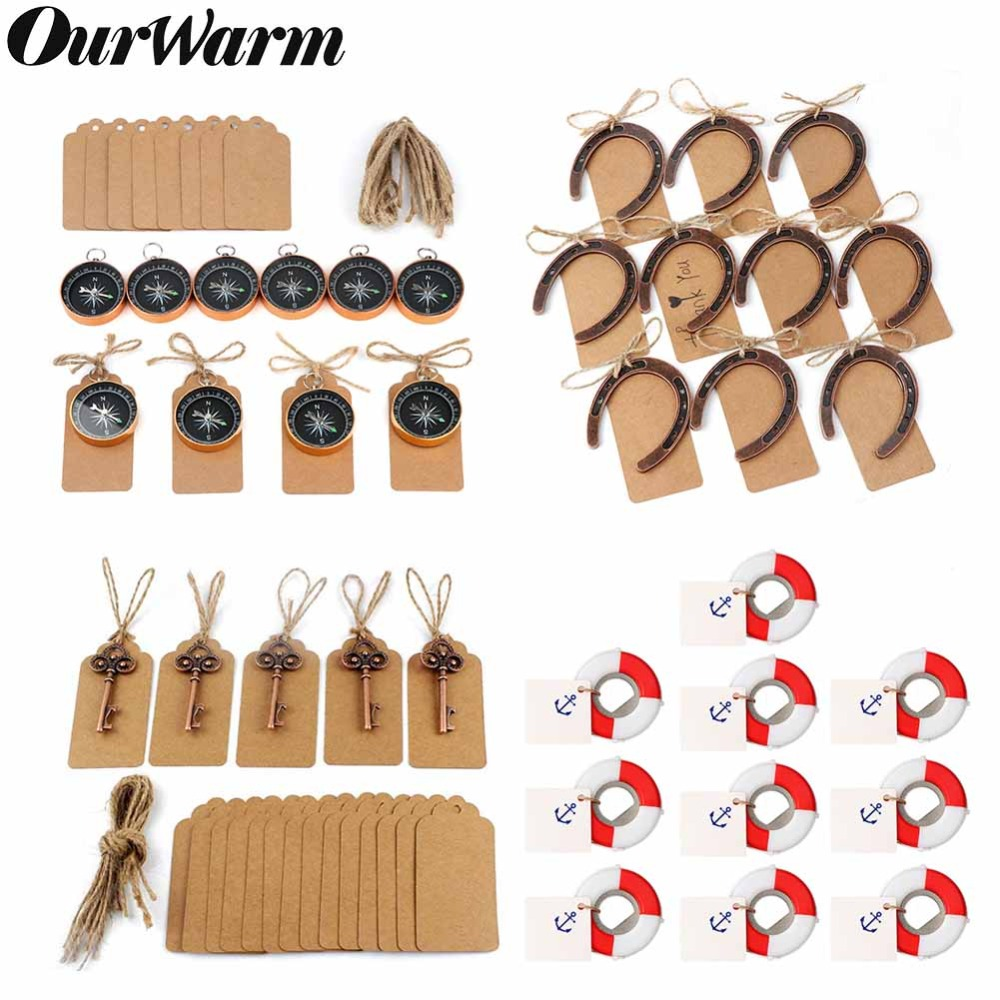 OurWarm 10Pcs Wedding Souvenirs Key Bottle Opener+Tags Compass Anniversary Wedding Gifts for Guests Valentine's Day Present image