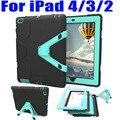 Для iPad 4 3 2 9.7 Дюйма Case Heavy Duty Треугольник Стенд броня Падение Доказательство Силиконовые ТПУ + PC Hard Cover + Протектор Экрана I404