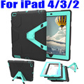For iPad 4 3 2 9.7 Inch Case Heavy Duty Triangle Stand Armor Drop Proof Silicone TPU + PC Hard Cover +Screen Protector I404
