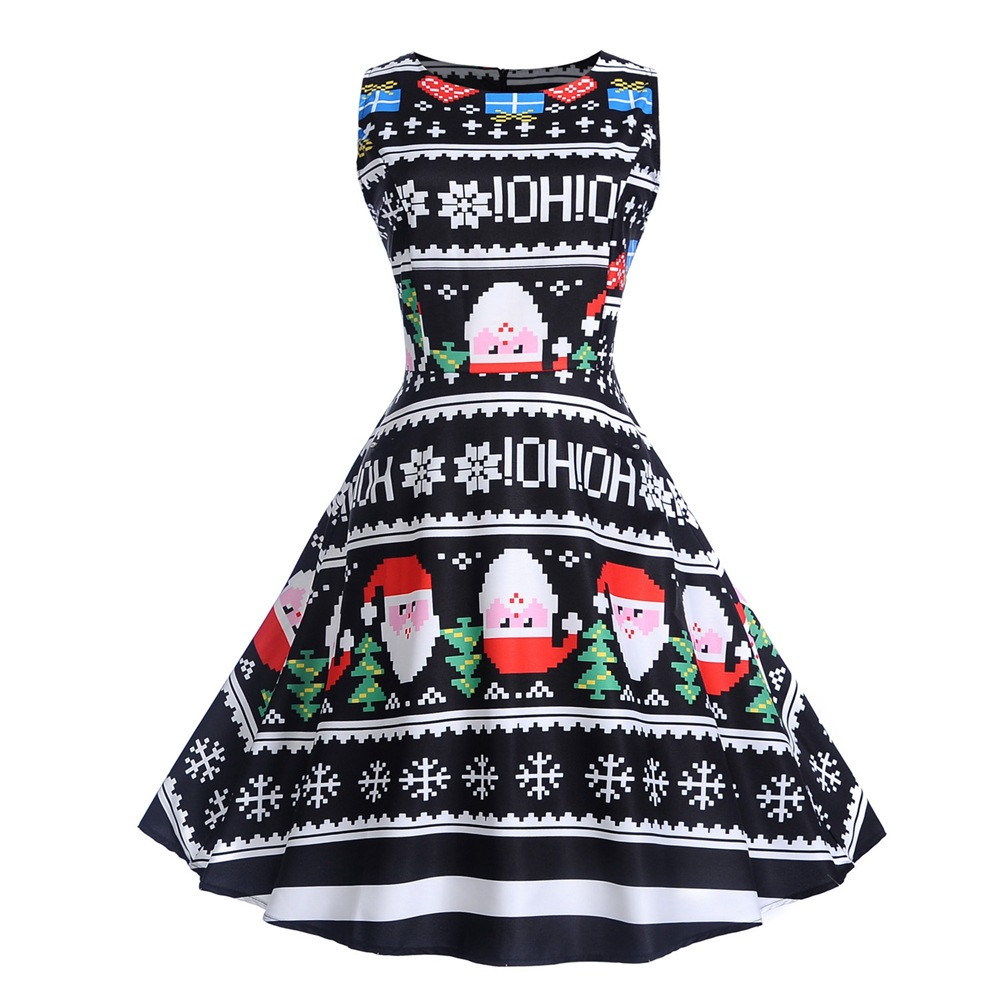 Ladies Lady Sleeveless Vintage Santa Elk Christmas Party Ball Party Swing Dress Halloween Party Cosplay Costume