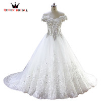 Long Train Tulle Organza Crystals Sequins Lace Applique Wedding Dress Beaded Rhinestone 2015 Bride Dresses Wedding
