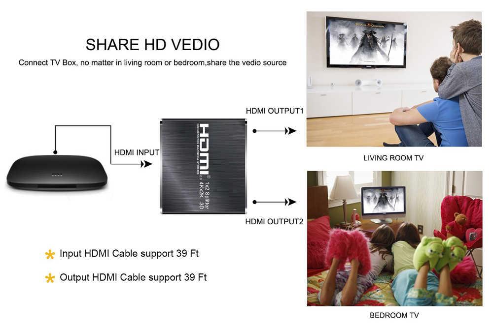 Rozdzielacz HDMI 4K UHD 2.0 HDR 1x2 rozdzielacz HDMI 2.0 4K 60Hz (YUV4: 2:0) rozdzielacz HDCP 1.4 HDMI 2.0 1 w 2 wyjście dla Blu-ray DVD PS4