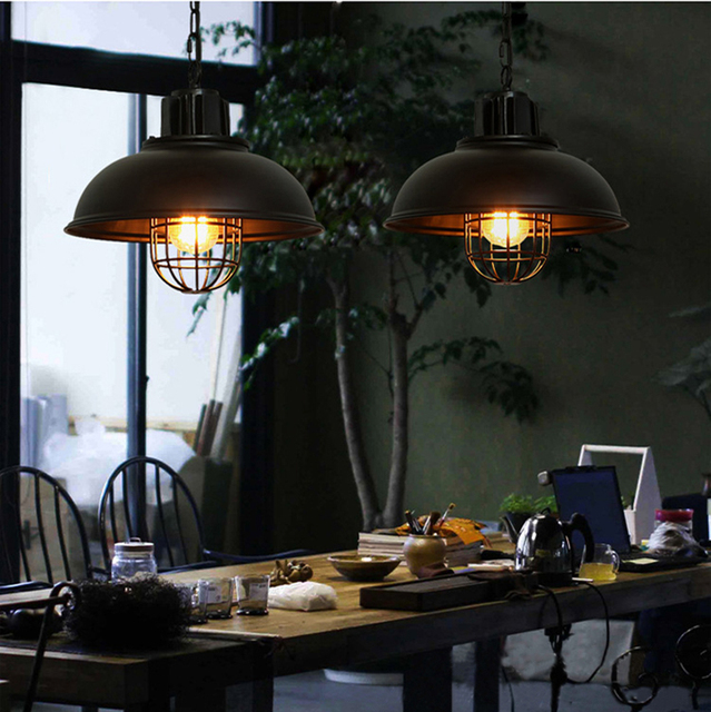 2017 Retro Led Pendant lights Industrial Pendant Light lamp for Dinning Room Kitchen Vintage Hanging Lamp luminaries Black White