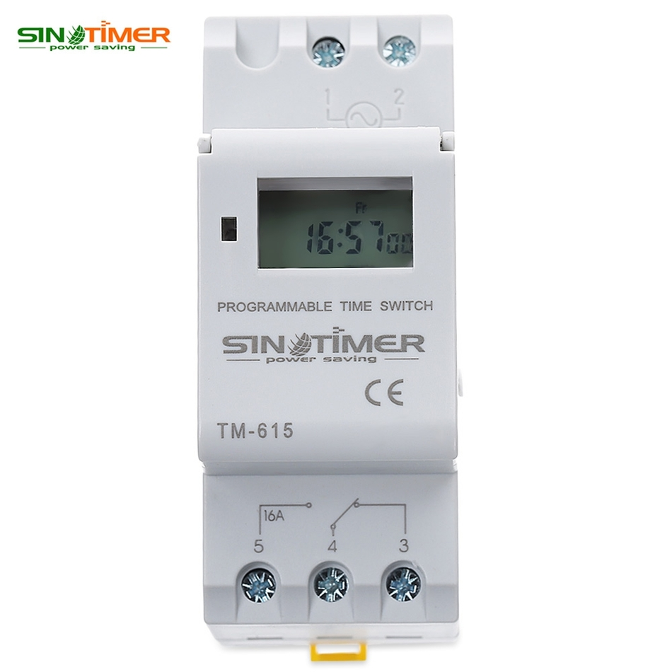 SINOTIMER Brand Electronic Weekly 7 Days Programmable Digital TIME SWITCH Relay Timer Control AC 110V/220V 16A Din Rail Mount new high quality 16a 220v ac digital lcd weekly programmable timer time relay switch ve505 t0 41