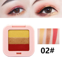 Novo 3 colors gradient eyeshadow palette waterproof long lasting wine red pumpki