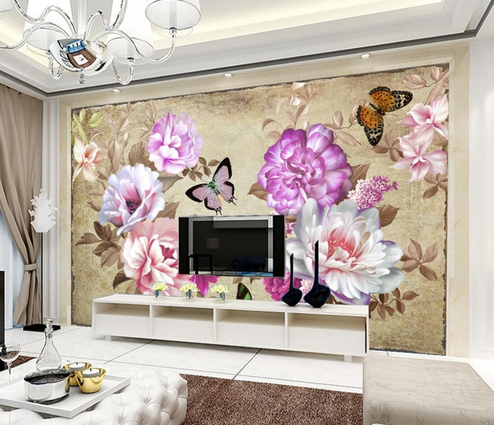 Floral Room Wallpaper: 3d Wallpaper For Room Fashion Peony Floral Background Wall