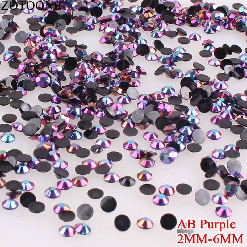 Zotoone SS6 Berlian Imitasi Batu dan Kristal AB Ungu Berlian Imitasi untuk Kuku Stiker Diy Datar Kembali Hotfix Berlian Imitasi untuk Pakaian E