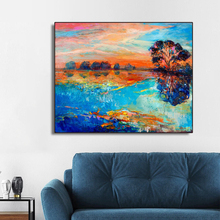 Watercolor Abstract Lake Scenery Wall Art Canvas Painting Calligraphy Poster Print Decorative Picture for Living Room Home Decor