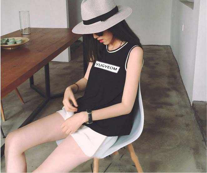 KpopコンサートアルバムGot7飛び回る同じねじ込み袖ノーカラーtシャツ女性の夏の服を与えるk-ポップシャツ