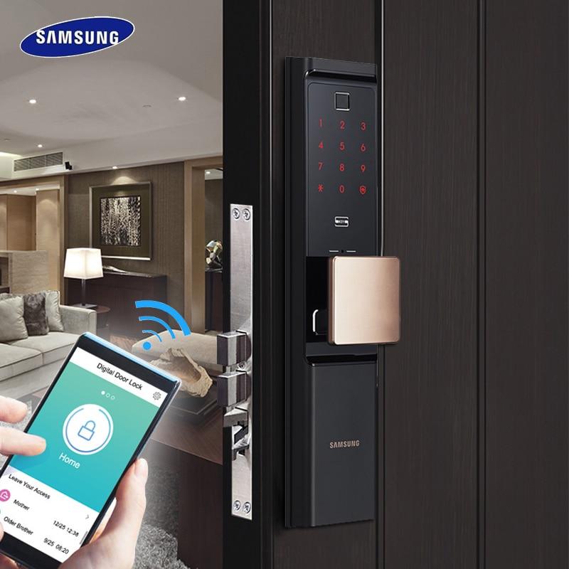SAMSUNG отпечатков пальцев цифровой Wifi дверной замок много Keyless SHP DR708/SHP DR717 английский Verion Eurp Moritse-in Электрический замок from Безопасность и защита