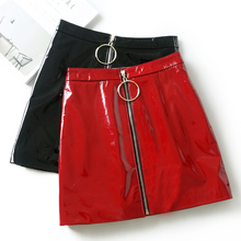 Women Skirt Casual Zip Faux Leather Pencil Bodycon Above Knee Mini Skirt Plus Size Faldas Mujer