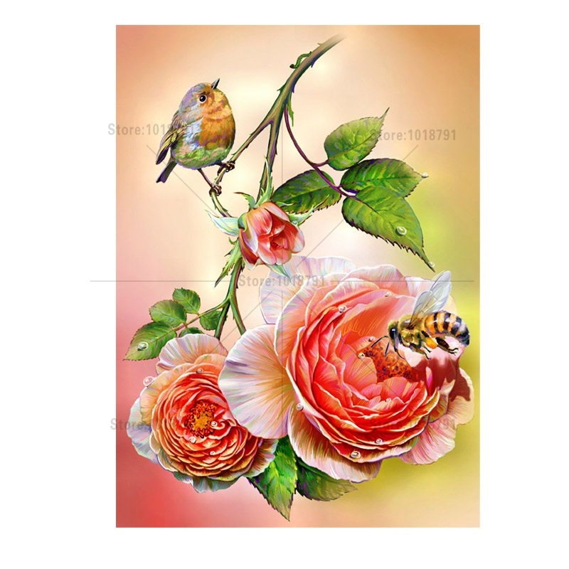 Flower Bird Painting Rhinestones Needlework Diamond mosaic embroidery Beaded Embroidery Cross Stitch
