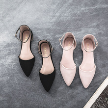 Liren 2019 Summer New Fashion Sexy Lady Casual Buckle Sandals Pointed Wrapped Toe Flat Heels Comfortable Shoes