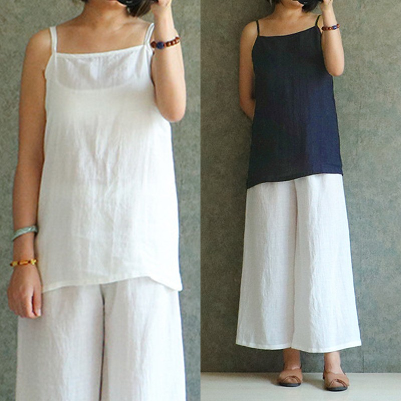 Celmia Plus Size 2019 Cotton Linen Vests Women Vintage Camis Vest   Tops   Tees Spaghetti Strap Comfort Solid Casual Feamle   Tank     Top