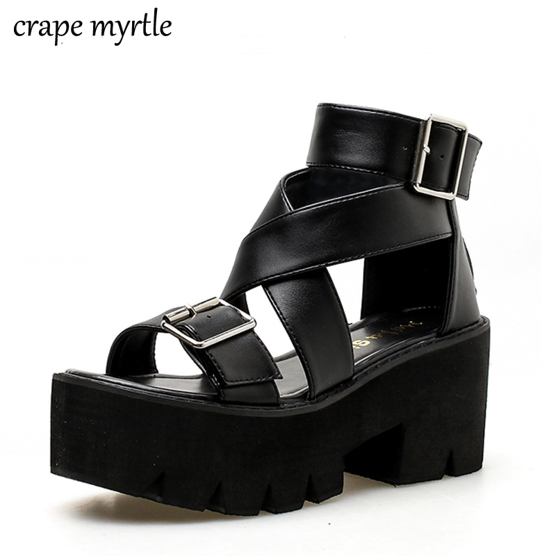 Womens Black Chunky Mid Heel Studded Sandals Platform Strappy Summer Punk Goth