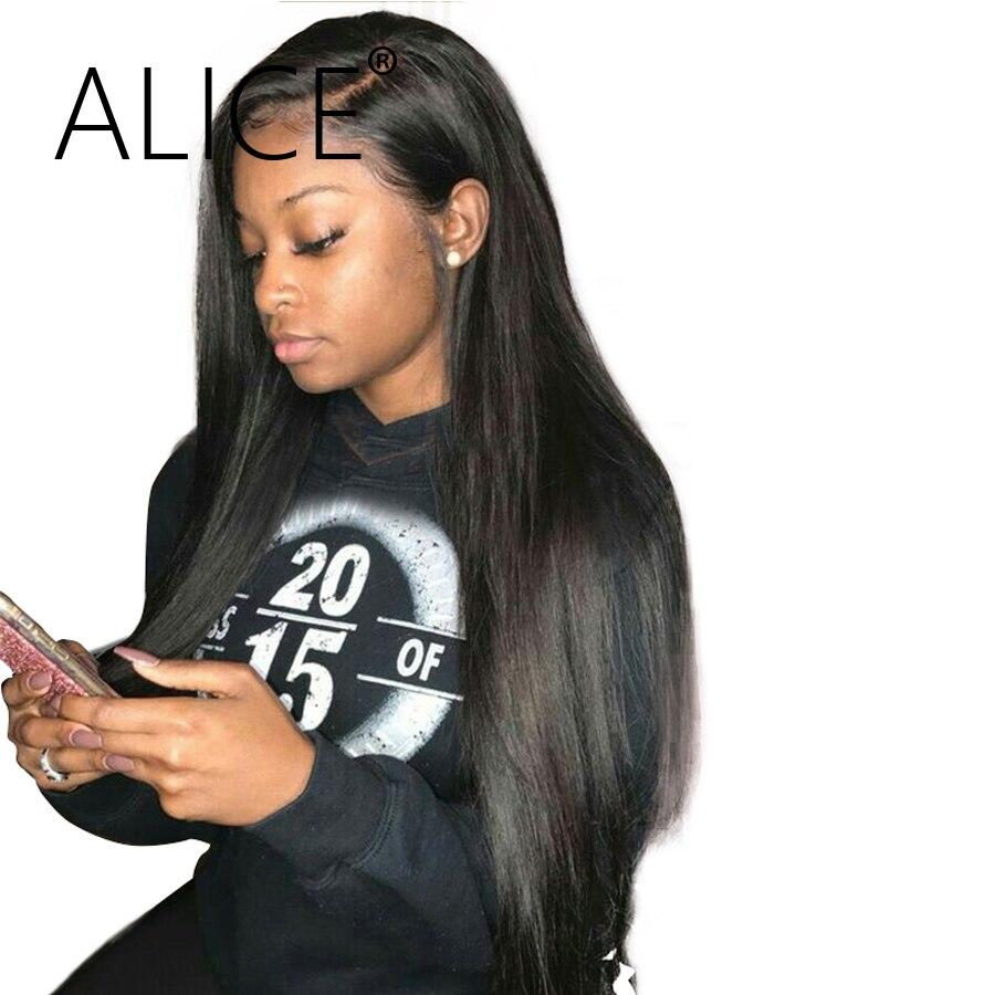Алиса шелковистая прямая бразильский полный Кружево Человеческие волосы Искусственные парики с ребенком волос Волосы Remy предварительно сорвал Glueless Кружево Искусственные парики отбеленные узлы