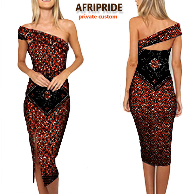 2018 women autumn dress AFRIPRIDE private custom sexy cotton pencil dress one shoulder one side open bodycon plus size A722568 in Dresses from Women 39 s Clothing