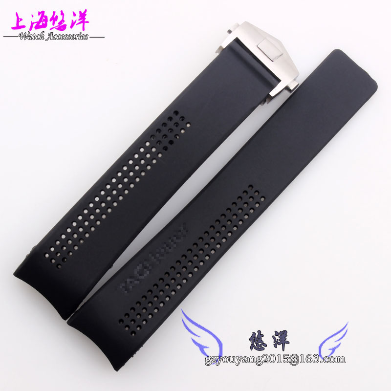 New Mens Black Silicon Rubber Waterproof Divers Watch Band Strap 22mm 24mm