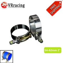 FREE SHIPPING SS304 (2PC/LOT) CLAMPS 2″ INCH (54-62)STAINLESS SILICONE TURBO HOSE COUPLER T BOLT CLAMP KIT VR5250