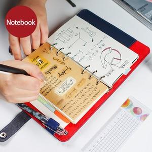 Image 4 - 2019 노트북 일기 개인 주최자 가죽 비즈니스 사무실 나선형 링 바인더 의제 노트북 플래너 A5 A6 편지지 선물