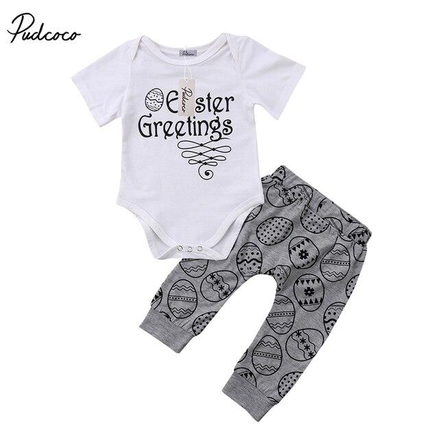 Pudcoco 2pcs newborn baby girl boy clothing sets kid easter pudcoco 2pcs newborn baby girl boy clothing sets kid easter greetings letter cotton jumpsuit bodysuit pants m4hsunfo