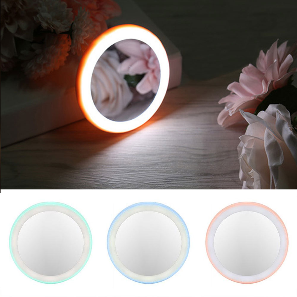 3X LED Lighted Mini Makeup Mirror Magnifying Compact Travel Portable Lighting Women Pocket Cosmetic Mirror