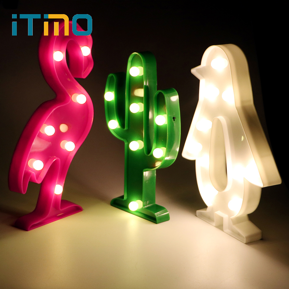 iTimo Romantic Novelty Lighting Night Light Flamingo Cactus Penguin Table Bedroom Wall Lamp Decoration Light 3D LED Home Bulb novelty magnetic floating lighting bulb night light wood color base led lamp home decoration for living room bedroom desk lamp