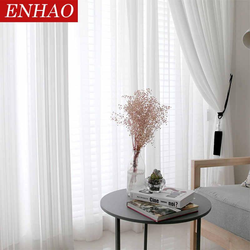 Enhao sólido tule cortinas da janela para sala de estar quarto cortinas para acabamento sheer voile para janela screenining porta