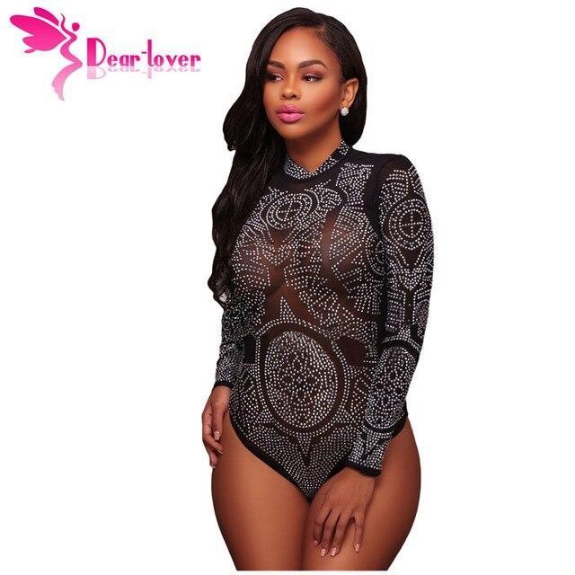 6aebe0c0b7f Dear Lover Bodysuits Women Sexy Romper Mesh Rhinestone Embellished Bodysuit  Leotard One Pieces Combinaison Jumpsuit Tops
