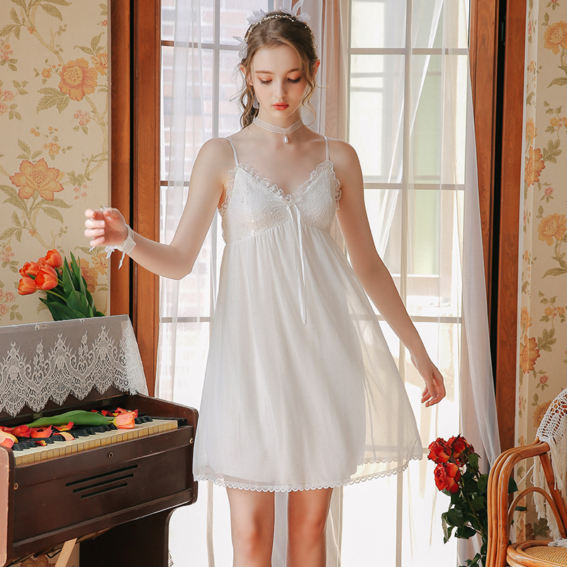 2019 Sleep Lounge Women Sleepwear Cotton   Nightgowns   Bowknot Indoor Clothing   Sleepshirts   White Nightdress Princess Nightdress