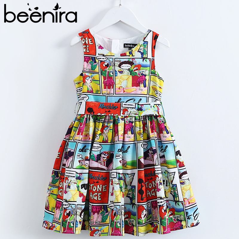 Beenira Girls Dresses 2018 New Eupopean American Style Children Sleeveless Cartoon Pattern Printed Cute Dress Kids Summer Dress