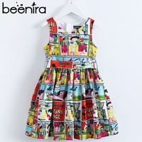 Beenira Girls Dresses 2019 New Eupopean American Style Children Sleeveless Cartoon Pattern Printed Cute Dress Kids Summer Dress