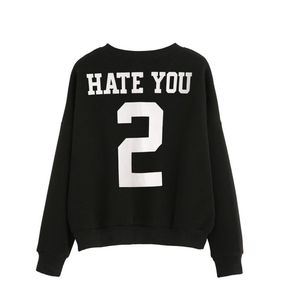 Feitong Letter Print Sweatshirt Pullovers 2017 Newest O-Neck Unique Design Full Sleeves Women long Sleeve Blouse