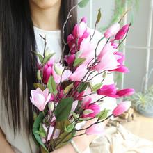Dziewięć głowy magnolia podłoga sztuczne kwiaty sztuczne sztuczne kwiaty liść Magnolia kwiaty na ślub bukiet dekoracje na domowe przyjęcie Jan28 tanie tanio Party Magnolia floor artificial flower Z tworzywa sztucznego Kwiat Głowy green Hot Pink White Pink Plastic cloth 76cm