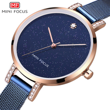 MINI FOCUS Womens Luxury Quartz Watches 2019 New Fashion Casual Mesh Strap Waterproof Wristwatch Lady Woman F0160L Rose blue