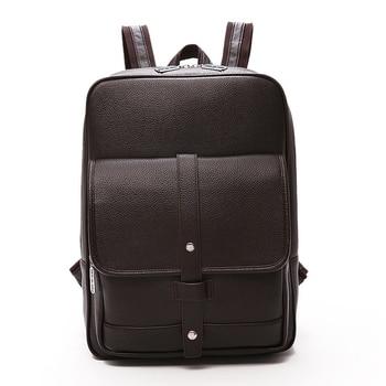 Business Women Casual Backpacks for School Travel Bag Black PU Leather Mens Fashion Shoulder Bags Vintage Boys Men Backpack